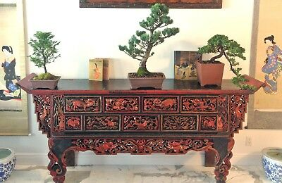 + ~1890s QING CHINESE ALTAR TABLE - RED & GOLD LACQUER - HIGH-RELIEF CARVINGS