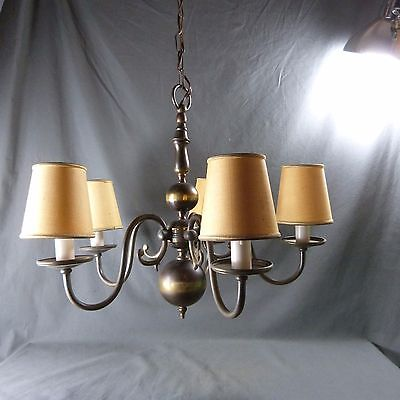 French Vintage 5 Lights Chandelier Copper with Lampshades