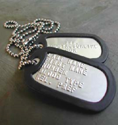Military Dog Tags Stainless Steel Personalized MATTE OFFICIAL ARMY USMC USA MADE