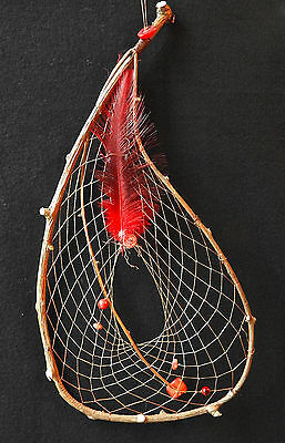 Dreamcatcher #1239- Teardrop with Coral- Native American Tribal Art