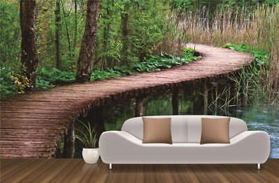 Wood Curve Path Forest Full Wall Mural Photo Wallpaper Print 3D Decor Kids Home