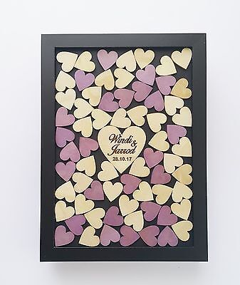 Personalised 70 hearts Shabby drop box alternative guestbook wedding engagement
