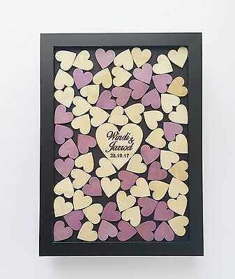 Personalised Shabby drop box alternative guestbook wedding engagement 70 hearts