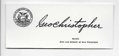George Christopher Mayor of San Francisco (1956-1964) Autograph Business Card