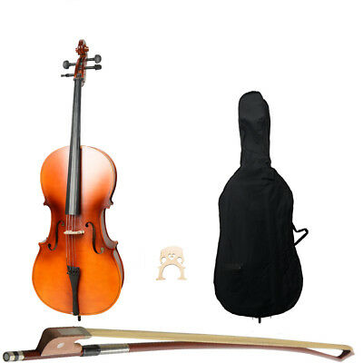 Brand New Wood Color 4/4 Size Matt Basswood Acoustic Cello +Bag+Bow+Rosin+Bridge