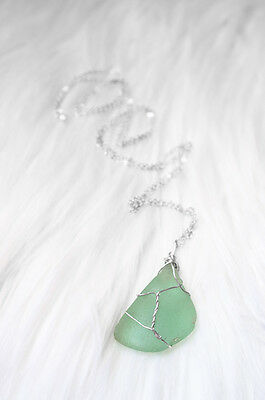 Natural Green Seaglass Silver Plated Necklace