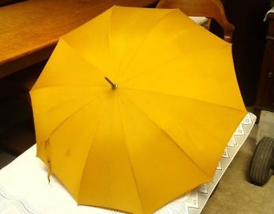 Mustard Yellow Umbrella and Wrapped Rattan and Wood Handle  Vintage