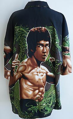 Vintage BRUCE LEE Dragon Graphic Button Front Holiday Shirt Mens Size L Retro
