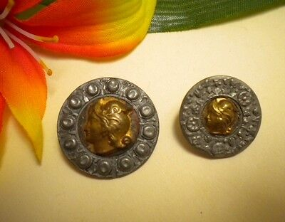 2 Antique Vtg Metal Framed Border Portrait Minerva Picture Buttons
