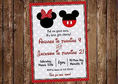 Mickey And Minnie Twins Siblings Birthday Party Invitation