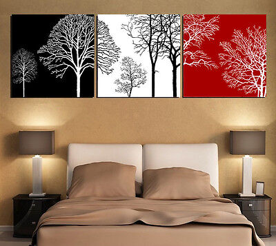 Print Canvas Painting Black White and Red Tree Picture Abstract Wall Art Decor