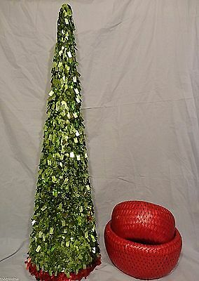 """Christmas Tree Table Top Centerpiece Cone 31"""" Tall Green Sequin Foil Beads"""