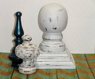 1 Vtg White Wood Ball Cap Finial Newel Post Top Salvage Shabby Distressed French