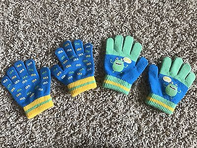 Toddler Boys Monster Finger Mittens Lot of Two Sets Size 2T - 4T