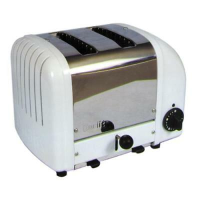 Cadco - CBT-2 - Stainless Steel and White 2 Slot Heavy Duty Bagel Toaster