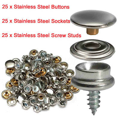 75x Stainless Steel 3/8'' Screw Snap Studs + Sockets + Buttons Covers Fasteners