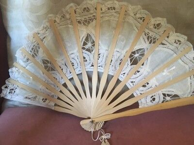 Vintage Lace Fan With Various Patterns,Spiders Web,Fleur De Lys Etc,Wooden Stick