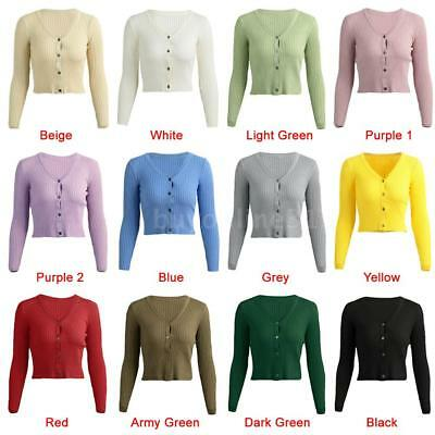 Ladies Fashion Long Sleeve Button Down Crop V Neck Casual Cardigan Knit Top B8W4