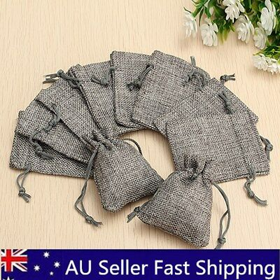 100X Burlap Linen Jute Sack Jewelry Pouch Drawstring Wedding Gift Bag Xmas Favor
