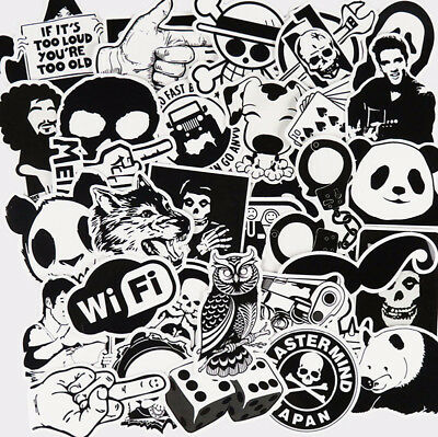 60pcs/set Black and White Sticker Car Styling Luggage Vinyl Decals Laptop Toy