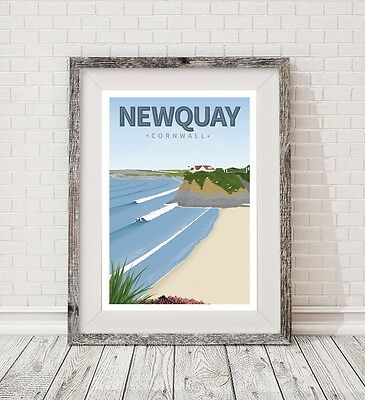 A3 Surfing Newquay Cornwall retro art travel poster print vintage