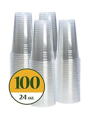 Plastic Cups CRYSTAL CLEAR PET [100 pack] (24 oz) 24 oz
