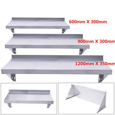 600/ 900/1200MM Stainless Steel Kitchen Shelves Wall Shelf Mounted + Brackets