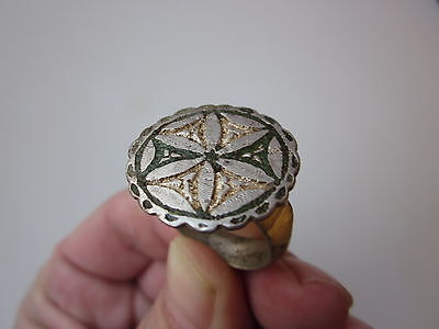 Ancient late Roman ~ Byzantine  unique massive silver engraving ring with enamel