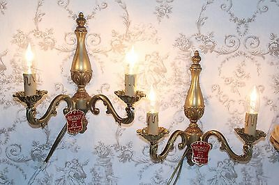 A Superb Pair of Vintage French Bronze Double Wall Sconces Lights Lamps (Ref 2)