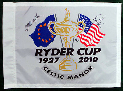 Colin MONTGOMERIE & Corey PAVIN SIGNED Autograph RYDER CUP Golf Flag AFTAL COA