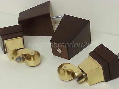 4 x Sofa Chair Square Wooden Feet Chair Leg Mahogany With Brass Castors M8(8mm)