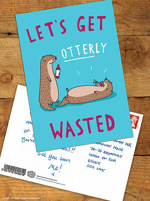 Brainbox Candy 'Otterly Wasted' Postcard Funny Comedy Humour Novelty Cheeky Joke