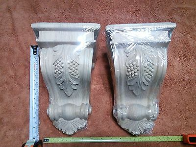 Solid Red Oak Big Wood Carved Grape Corbels 6x9-1/2 Wall Mount Unfinished