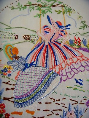 Vintage Hand Embroidered Tablecloth Crinoline Lady & Girl Swing Cottage Garden
