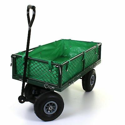 Large Garden Trolley Cart Mesh Barrow Truck Heavy Duty Wheelbarrow 4 Wheels