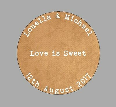 Personalised Wedding Shabby Brown Kraft Effect Favours Love Cake  257