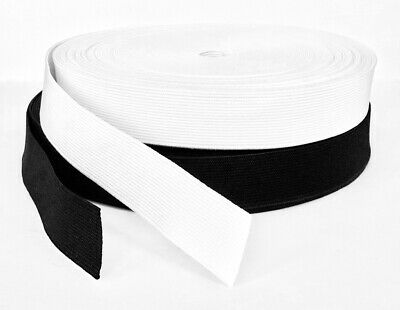 Flat Woven Elastic 25mm / 1 inch wide Black or White Premium Grade **FROM 99p**