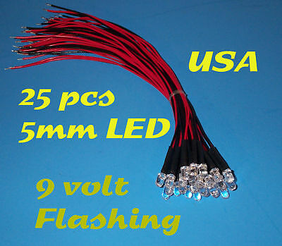 25 PRE WIRED GREEN FLASH LED LIGHT 5mm 9 VOLT 9V WIRE BLINKING FLASHING