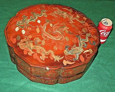 """Antique Chinese Marriage Box Red Lacquer with Dragon Motif 15"""" D Desirable"""