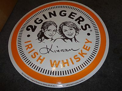 2 GINGERS IRISH WHISKEY BEER TIN SIGN - NEW! NEAT SIGN! 17 1/2 IN ROUND - two