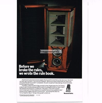 1986 Acoustic Research MGC-1 Speakers Stereo Hi-Fi Vtg Print Ad