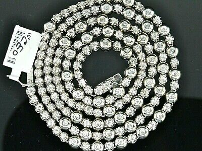 2.0 CT. tw Diamond 1 Row Rosary Mens Chain Sterling Silver White Gold Finish 34""