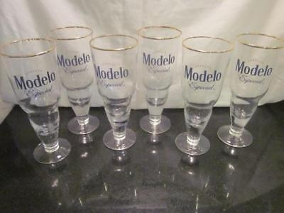 Set Of 6 New Cerveza Modelo Especial Stem Beer Glass Beer Gold Rim Mexico 16Oz.
