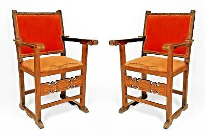 Pair of Spanish Colonial (South American, Possibly 16th Cent.) Walnut Armchairs