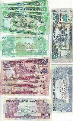 Somalia  500  2011, 1000  2011, And 5000  2011   5 Of Each Note  Total 15 Pcs Un