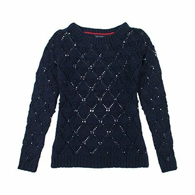 Tommy Hilfiger Womens Long Sleeve Knit Sweater XL New Master Navy, New