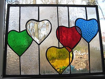 Loving Colors- Hearts stained glass panel window OOAK newly created