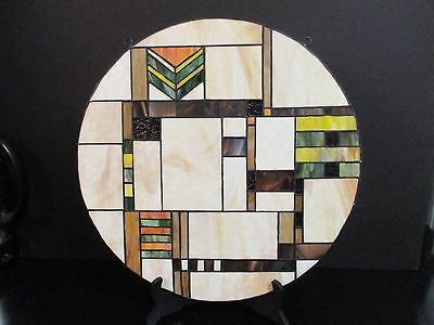 "15 7/8"" ROUND  Stained Glass  FRANK LLOYD WRIGHT STYLE/MISSION/ARTS & CRAFTS"