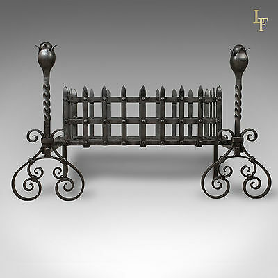 Antique Fire Basket, Large Victorian Iron Grate, Andirons, Dogs c.1900