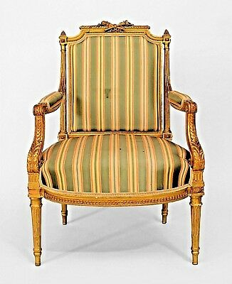 French Louis XVI Style (19th Cent.) Gilt Open Armchair